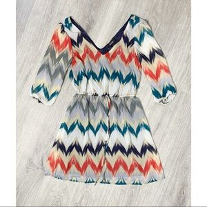 BeBop Multi Color Chevron Print Summer Dress
